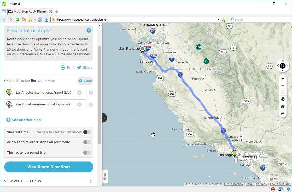 MapQuest en BriskBard