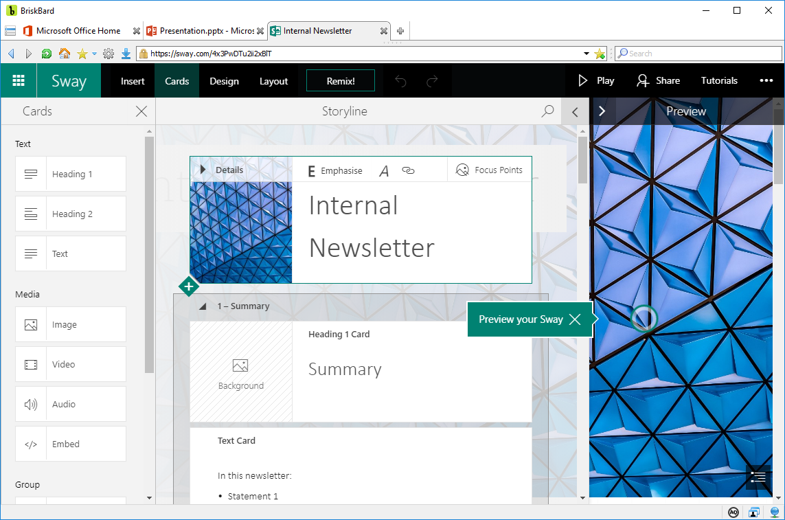 how to use microsoft sway to create a photo album